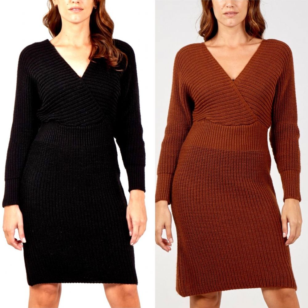 KNITTED WRAP FRONT JUMPER DRESS BLACK OR CHOCOLATE SIZE 10-16
